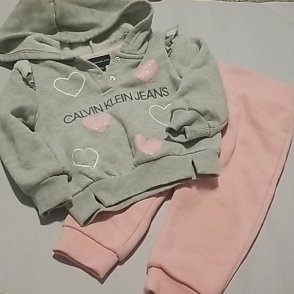 Calvin Klein Jean's little girl heart sweat suit